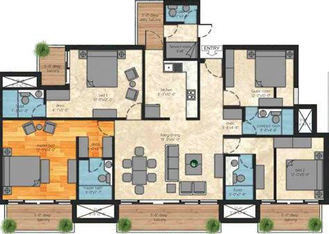 1850 sq ft 4 BHK 4T Apartment for Sale in Iramya Passion