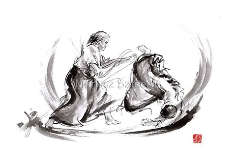 """""""Aikido fight scenery martial arts drawing painting sketch"""