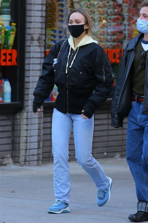Lily-Rose Depp in Levi's Hi-Rise Straight Leg Jeans