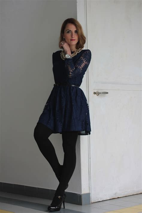 Lace blue dress and black (Fashion outfit #85