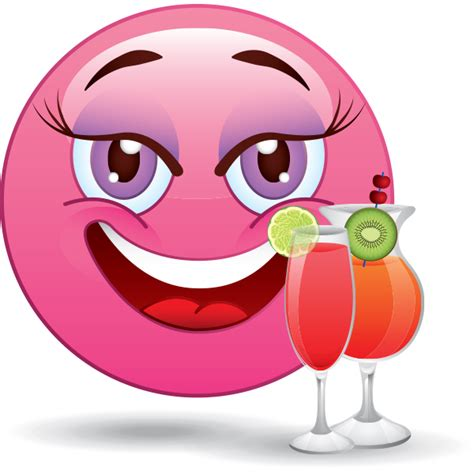Pink Smiley with Cocktails   Funny emoji faces, Funny