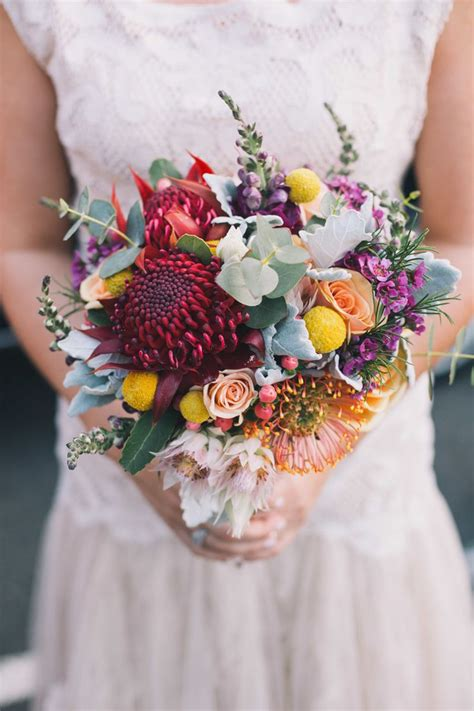 Colourful bouquet with Australian natives, roses and billy