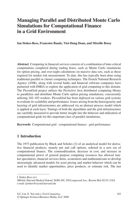 (PDF) Managing Parallel and Distributed Monte Carlo