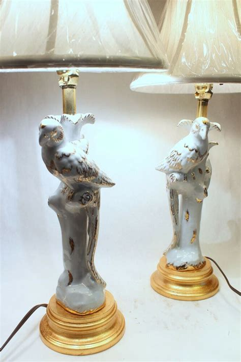 Pair of White and Gold Porcelain Bird Figurine Candle