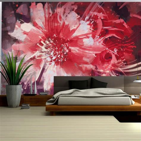 Red Wallpaper for Walls Abstract floral Flower Wall Mural