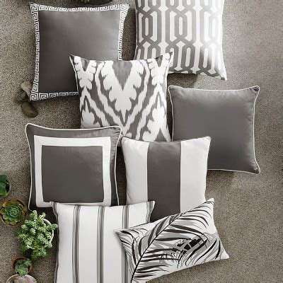 Sunbrella Outdoor Solid Pillow Cover with Piping, Gray